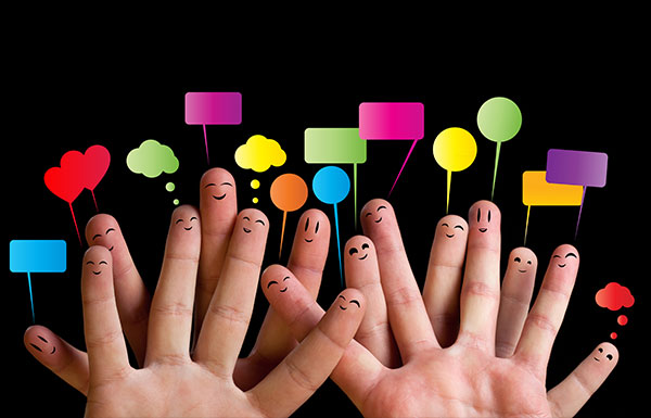 Fingers showing togetherness with communication